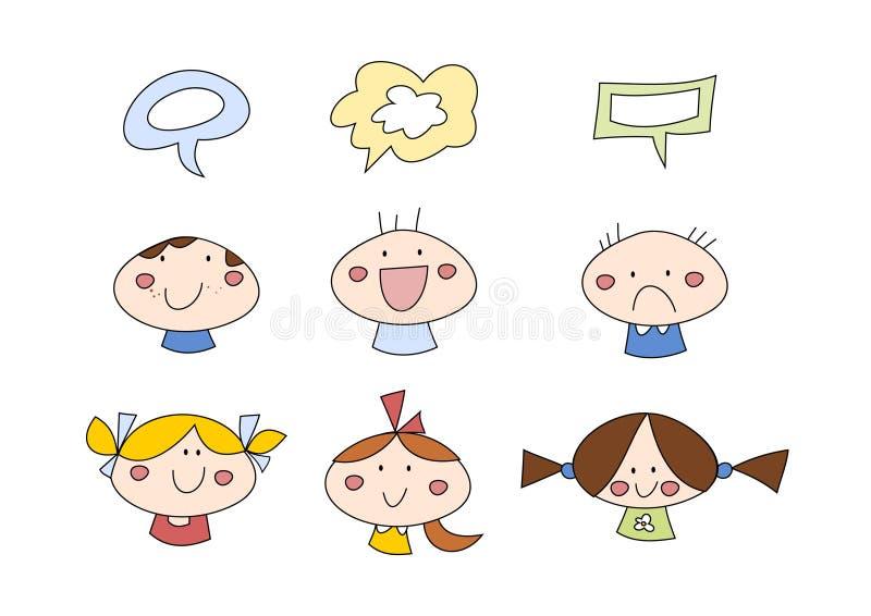 Doodle fijado: Niños stock de ilustración