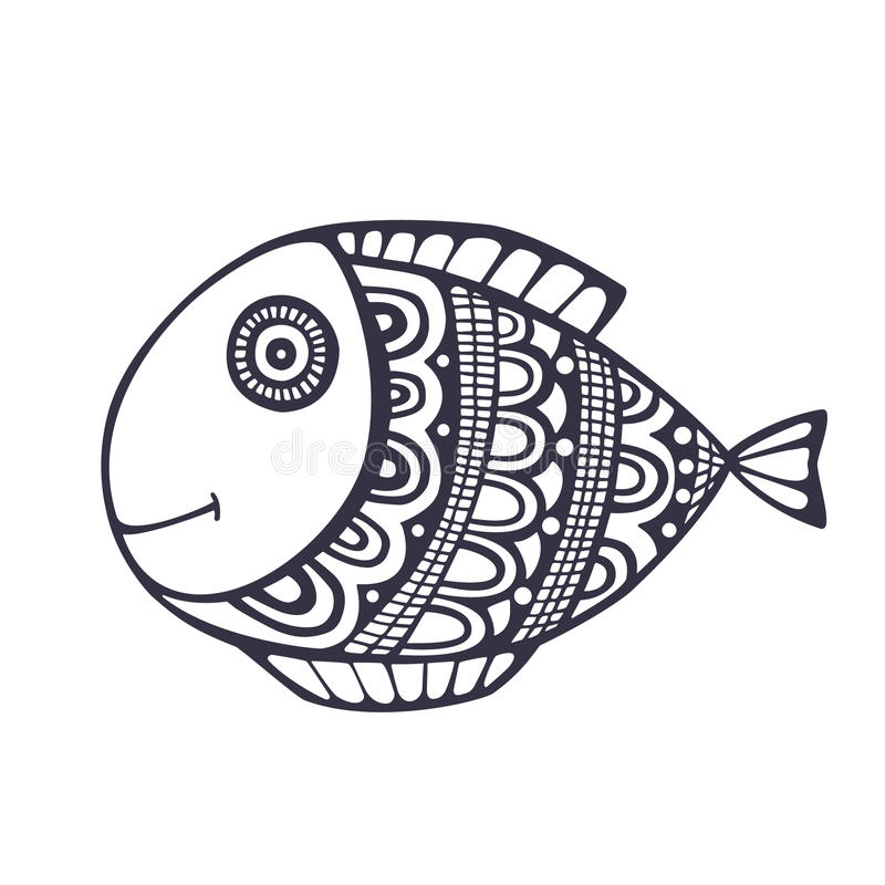Doodle fish vector royalty free stock images