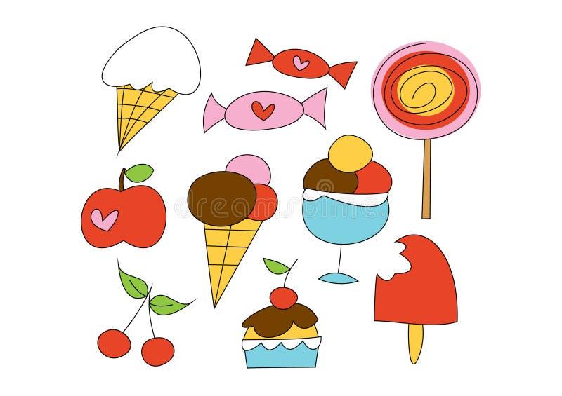 Doodle fissato: Cose dolci illustrazione vettoriale