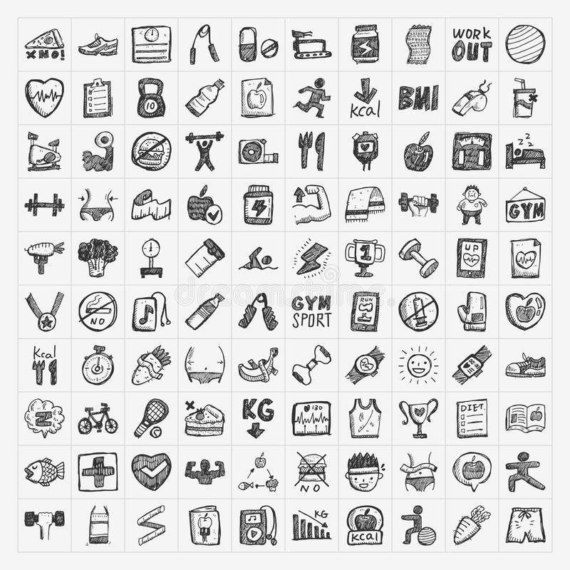 Doodle fitness icons stock illustration