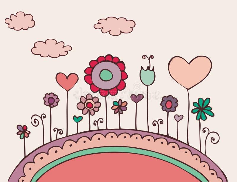 Doodle floral encantador stock de ilustración