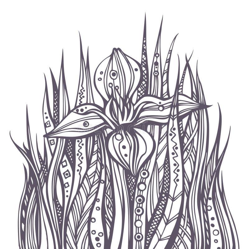 Doodle floral moderno abstracto stock de ilustración