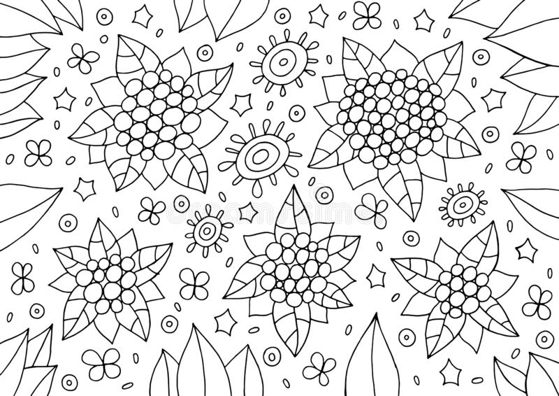 Doodle floral ornament. Outline abstract flowers and leaves. Cartoonish coloring page for adults. Vector illustration.  stock illustration