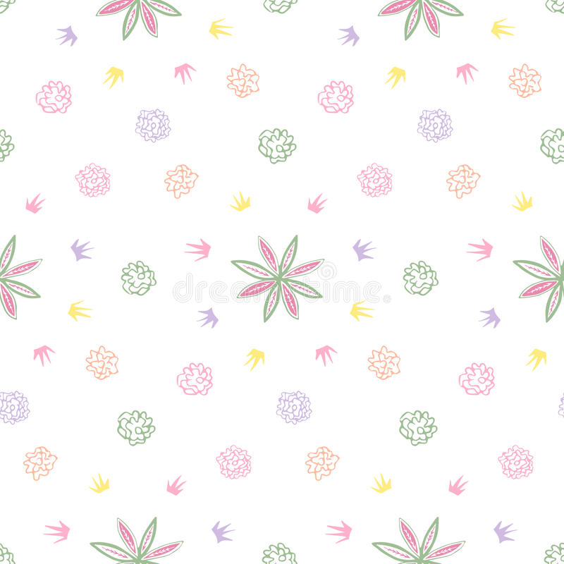 Doodle floral pattern. Abstract seamless pattern. Seamless pattern can be used for wallpaper, pattern fills, web page backgrounds, surface textures. Pink and stock illustration