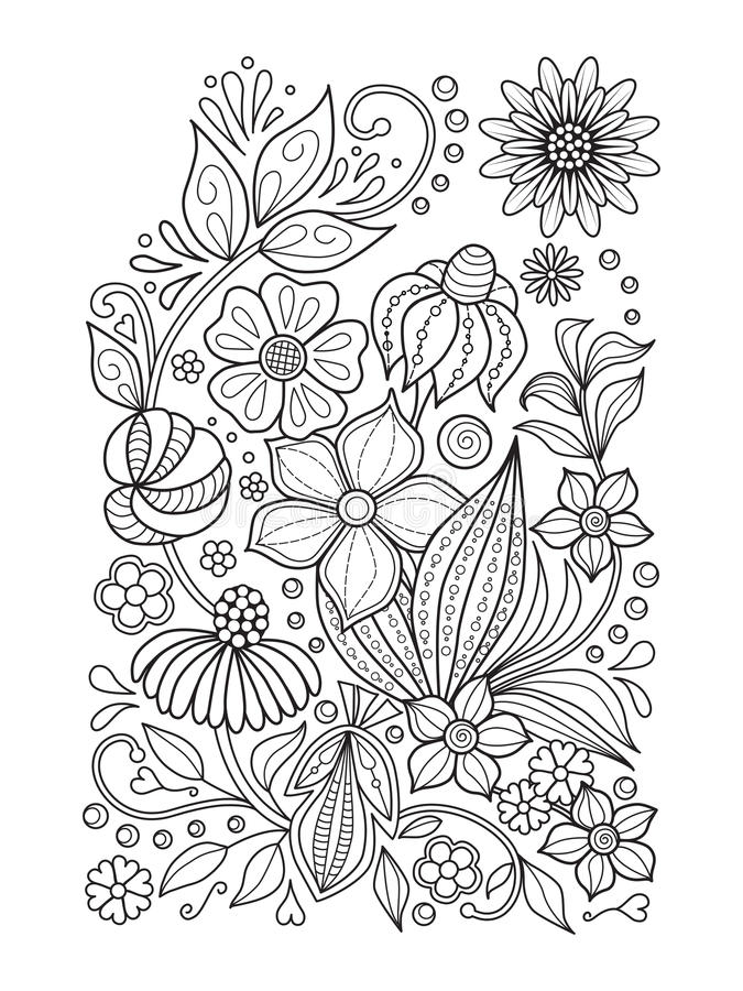Doodle floral pattern in black and white. Page for coloring book: relaxing job for children and adults. Zentangle. Doodle floral pattern. Page for coloring book stock illustration