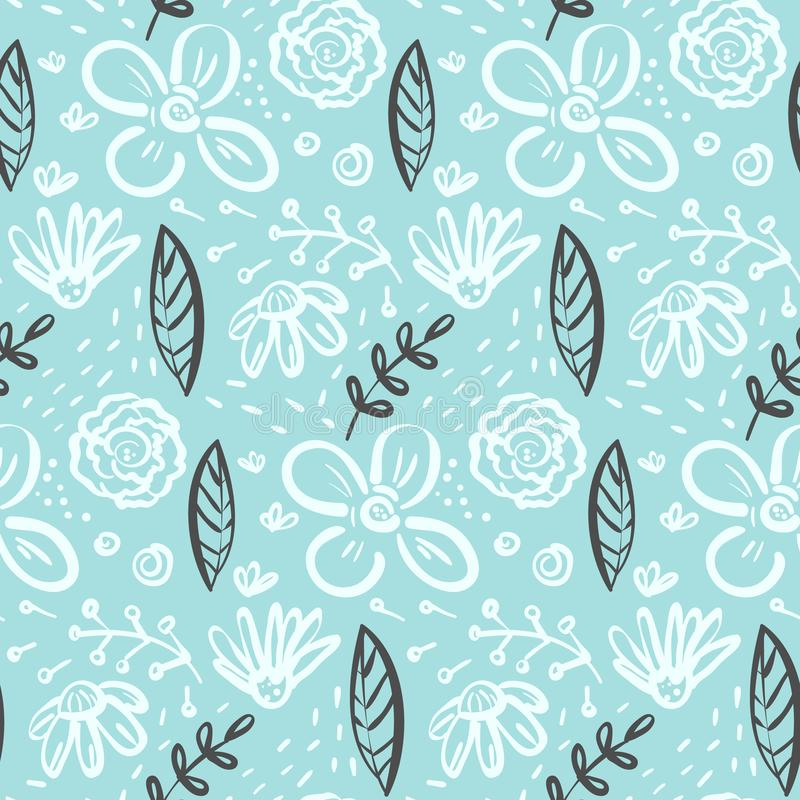 Doodle floral pattern with flowers and leaves. Contrast linear doodle floral seamless pattern with white flowers and contrast dark leaves on blue. Tender blue vector illustration