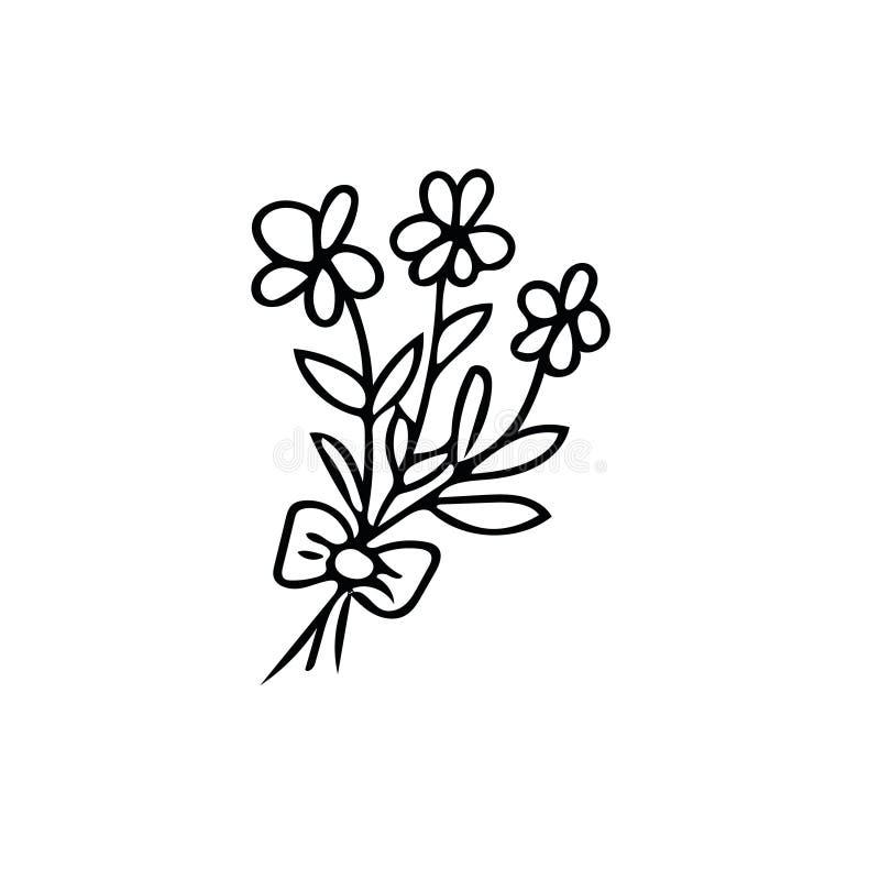 Doodle Flower Bouquet Hand Drawn Element Scandinavian Simple Liner Style Stock Vector Illustration Of Doodle Outline 160623496