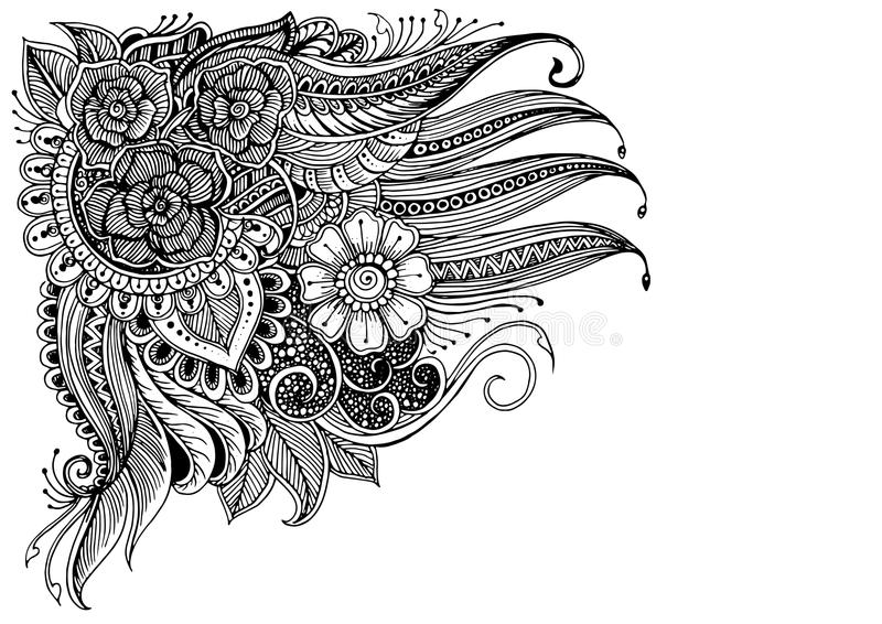 Doodle flowers pattern black on white. Hand-drawn floral Background with Zen doodle flowers pattern black on white for flyer or for coloring page or relax vector illustration