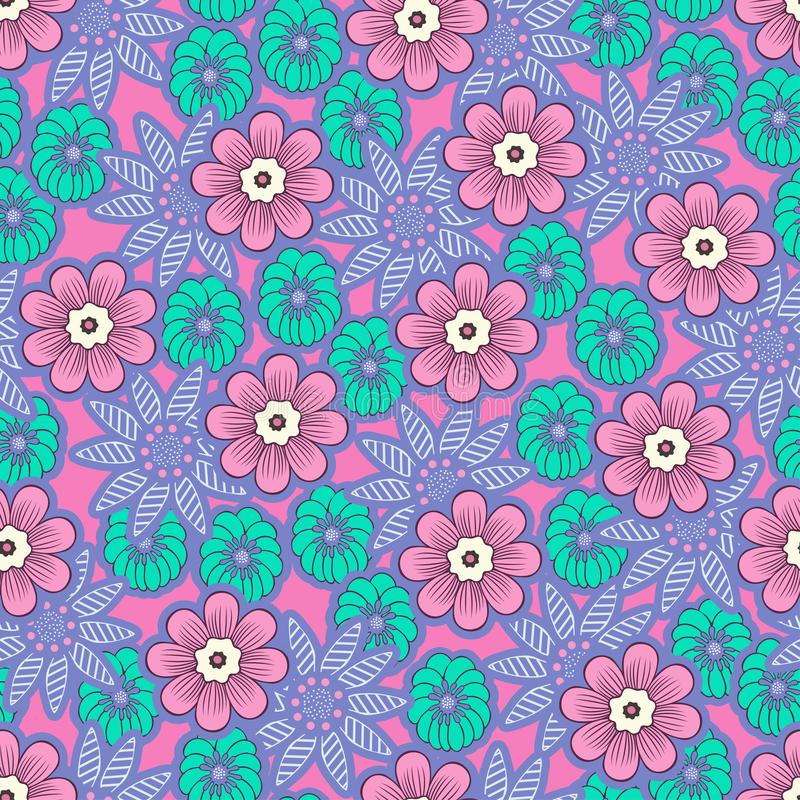 Doodle flowers seamless pattern, colorful floral background. Purple and green flower buds on pink backdrop, hand drawing, delicate stock illustration