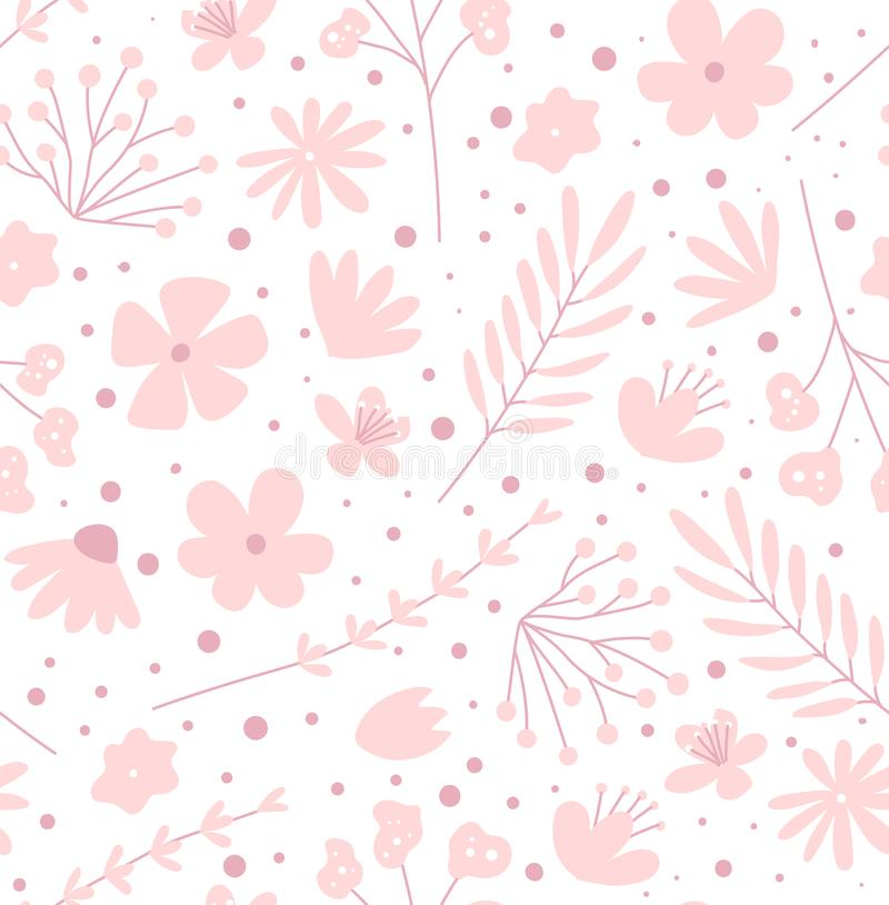 Doodle flowers seamless pattern for fabric. Girlish pink background. Doodle flowers seamless pattern for fabric. Girlish pink vector background vector illustration