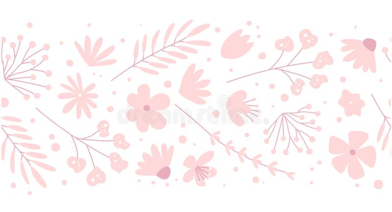 Doodle flowers seamless pattern for fabric. Girlish pink background. Doodle flowers seamless pattern for fabric. Girlish pink vector background stock illustration