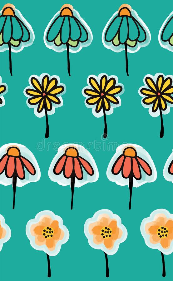 Doodle flowers seamless pattern on a teal background. Perfect for the kids market. Cute simple design. Fabric, paper, wallpaper,. Kids decor, childrens clothes vector illustration