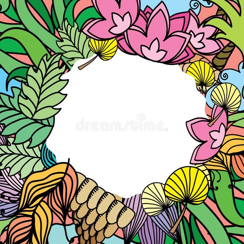 Doodle flowers,wave frame for your greeting card vector illustration