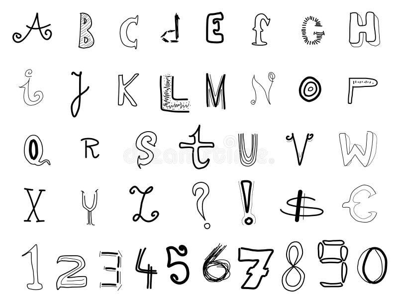 Doodle font royalty free illustration