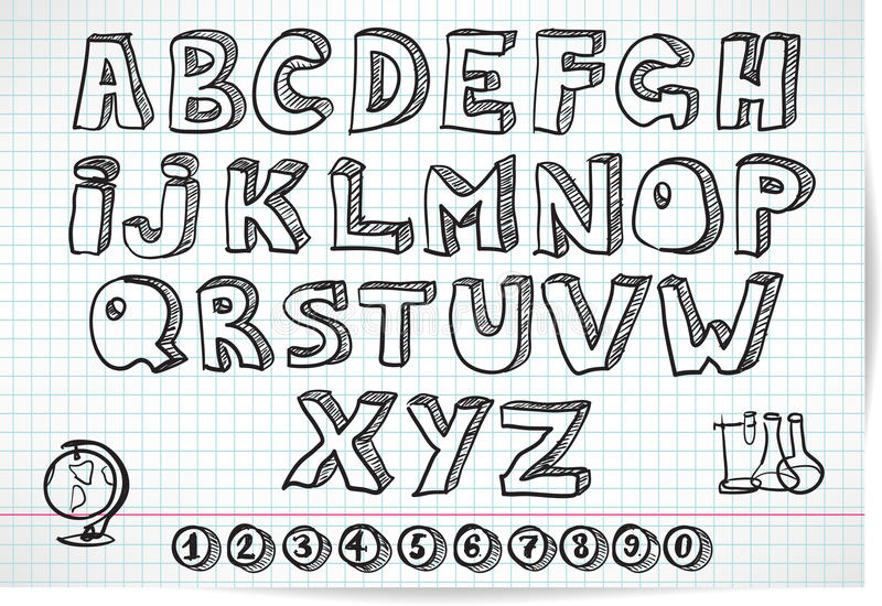 Doodle font on lined sheet vector illustration