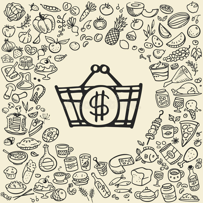 Doodle food icons stock illustration