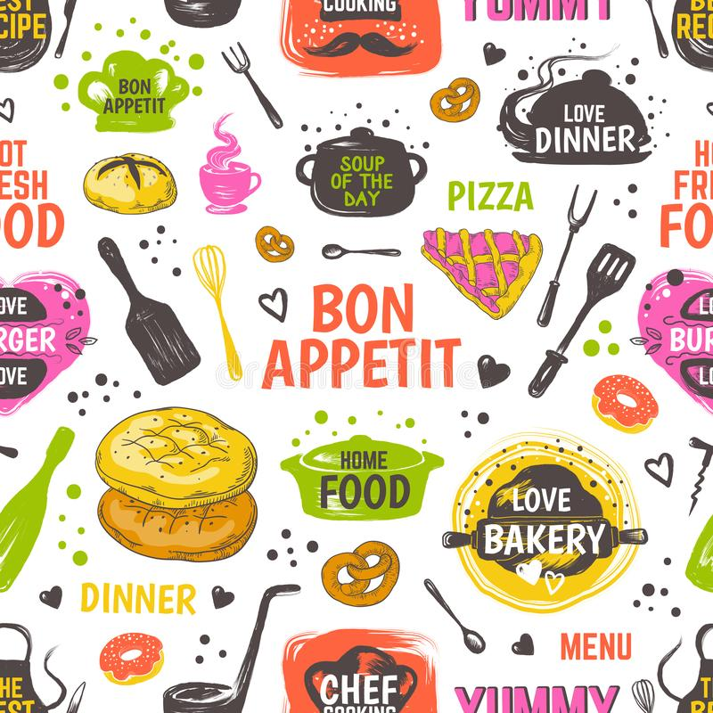 Doodle food pattern. Menu seamless background, vector hand drawn restaurant and cafe poster with sketch kitchen elements. Doodle food pattern. Menu seamless stock illustration