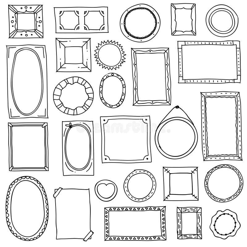 Doodle fotografii rama Ręki rysować kwadratowe owalne obrazek ramy, scrapbook skrobanina journaling granicy Retro nakreślenie royalty ilustracja