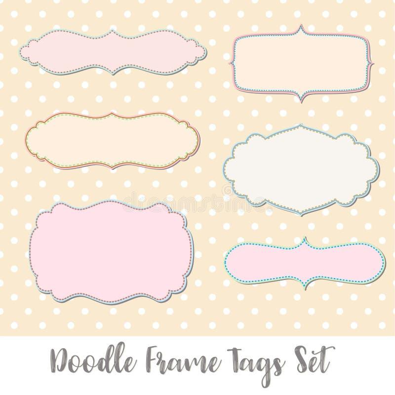 Doodle Frame Tags Set stock vector. Illustration of feminine - 100679536
