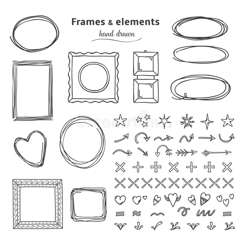 Doodle frames and elements. Hand drawn square round line frames, pencil sketch circle borders. Vector headline marker stock illustration