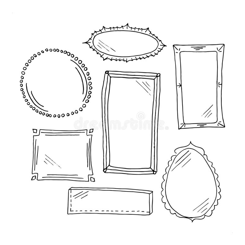 Doodle frames set. Collection of simple hand drawn black doodle frames and mirrors. Isolated on white background. Vector illustration royalty free illustration