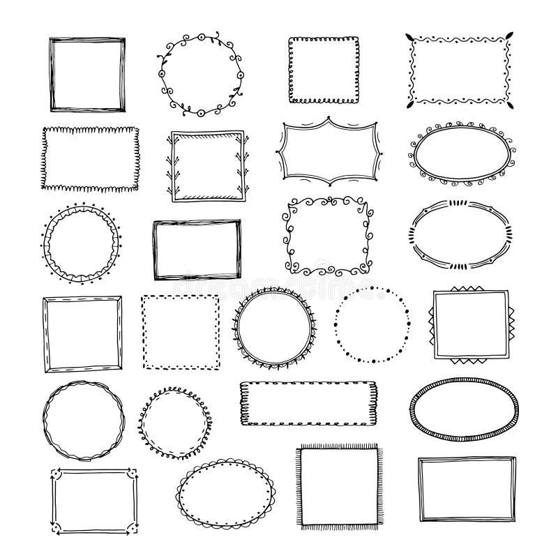 Doodle frames. Square borders sketch lines hand drawn round picture empty frame vintage vector set royalty free illustration