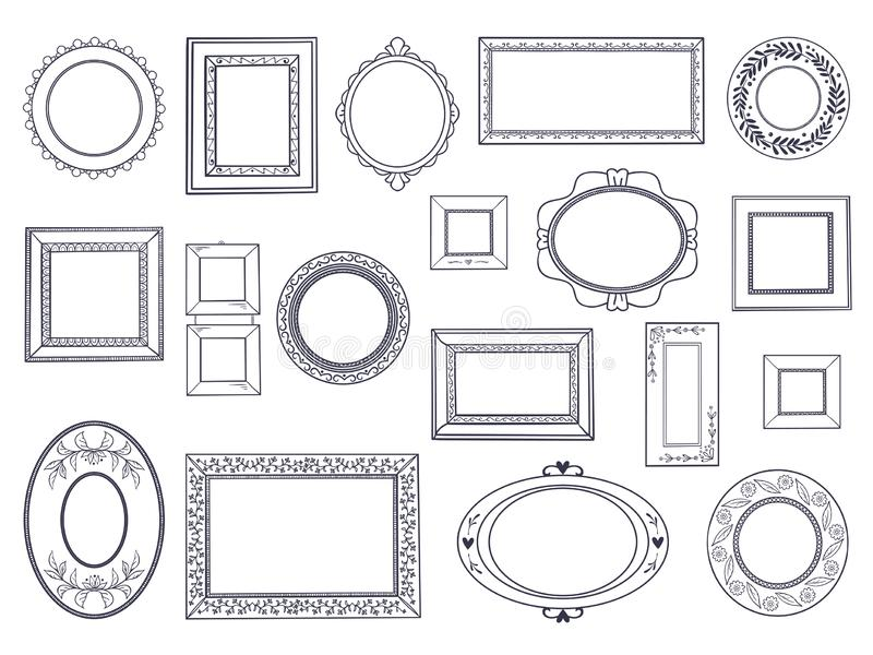 Doodle frames. Square hand draw borders, pencil circle line, round curved frames, kids pen drawings. Vector underline vector illustration