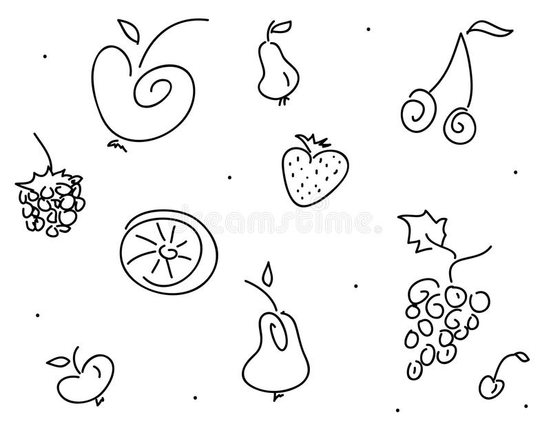 Download Doodle fruits stock vector. Image of many, outline, fruit - 23674295