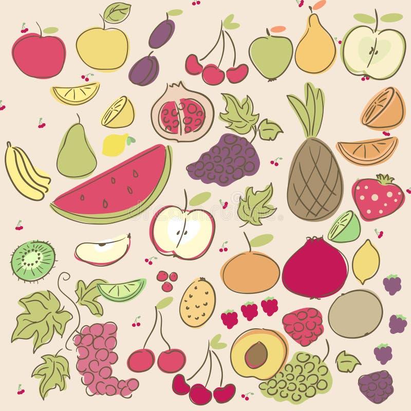 Doodle Fruits Stock Image