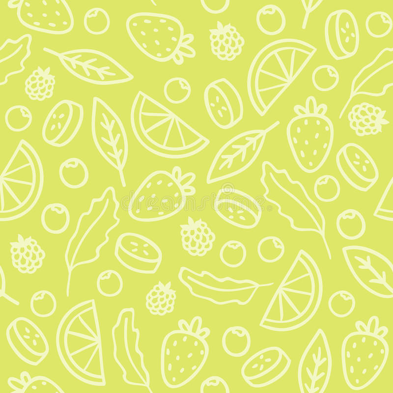 Doodle fruits and berries green seamless pattern. Vector illustration vector illustration