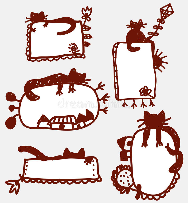 Doodle Funny Frames With Cat Stock Vector - Illustration of banner ...