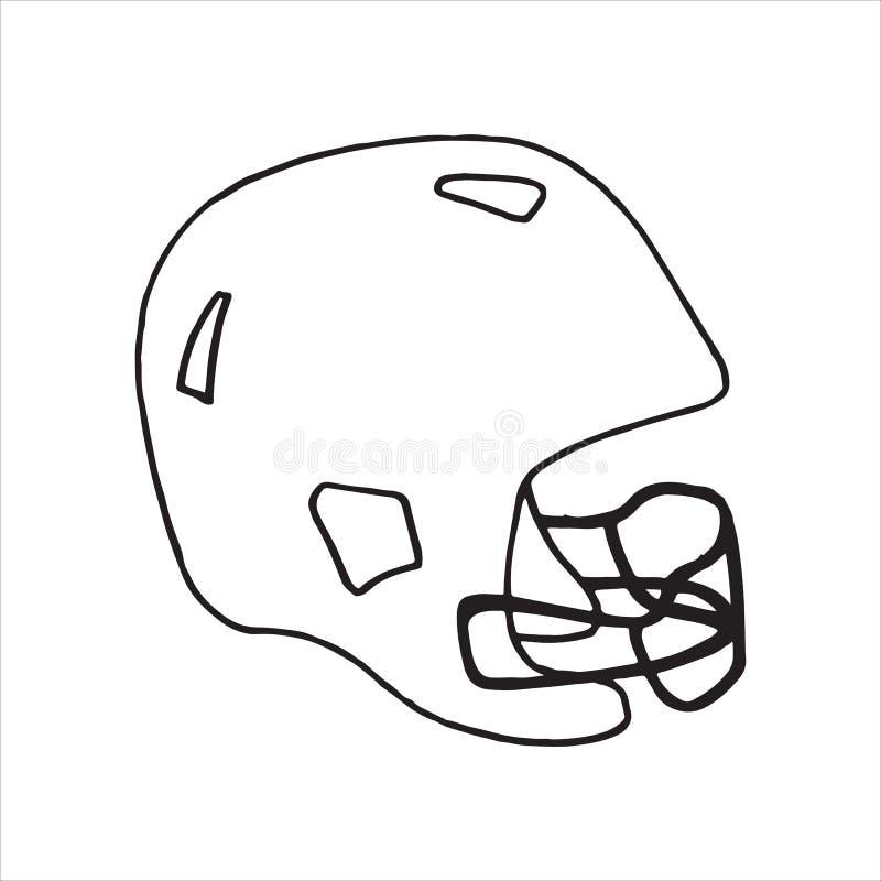 Doodle futbolowego hełma sportów stylowy wyposażenie ilustracji