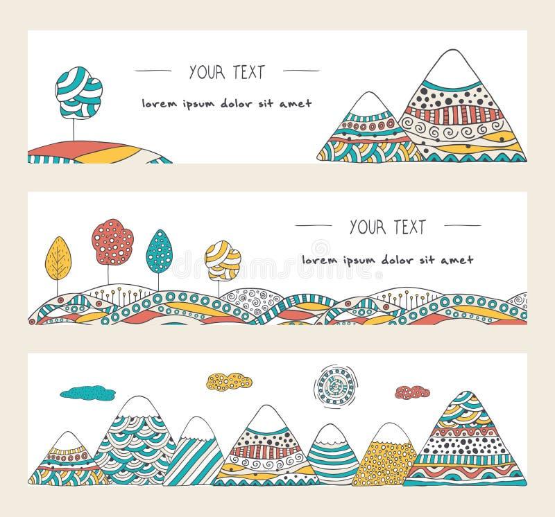 Doodle góry, drzewa, słońce i wzgórza, Horyzontalni sztandary Ustawiający ilustracji