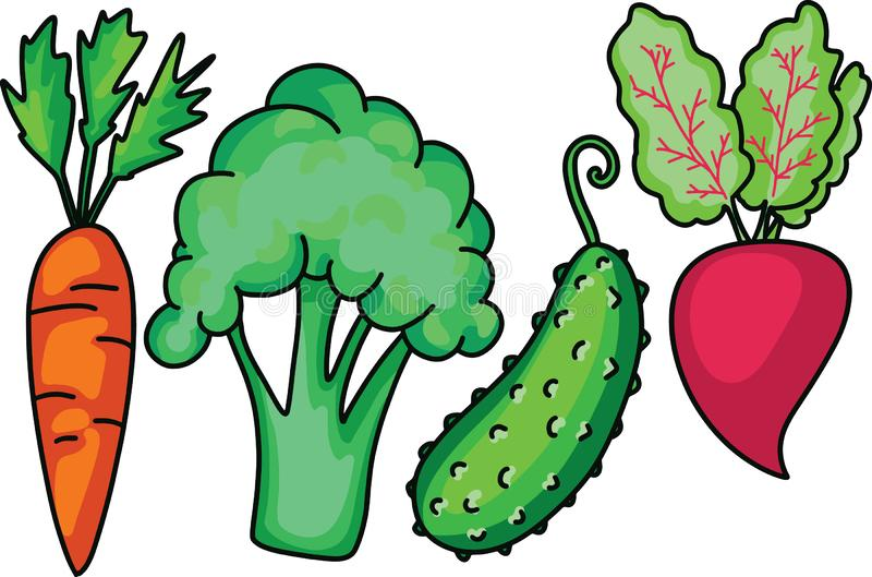 Doodle Garden vegetable set with carrot broccoli cucumber beet. Made in cartoon flat style. Vector royalty free illustration