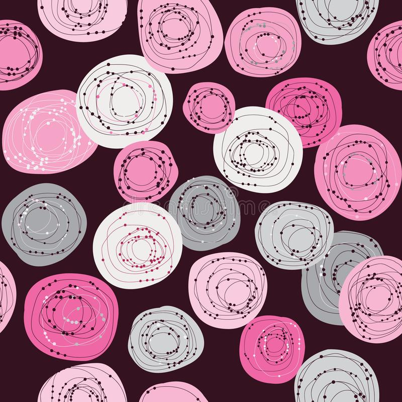Doodle geometrical pattern with gray and pink circles vector illustration