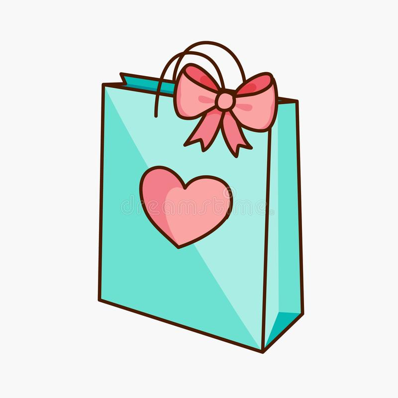 Free Doodle Gift Bag With Bow And Heart Royalty Free Stock Image - 109555366