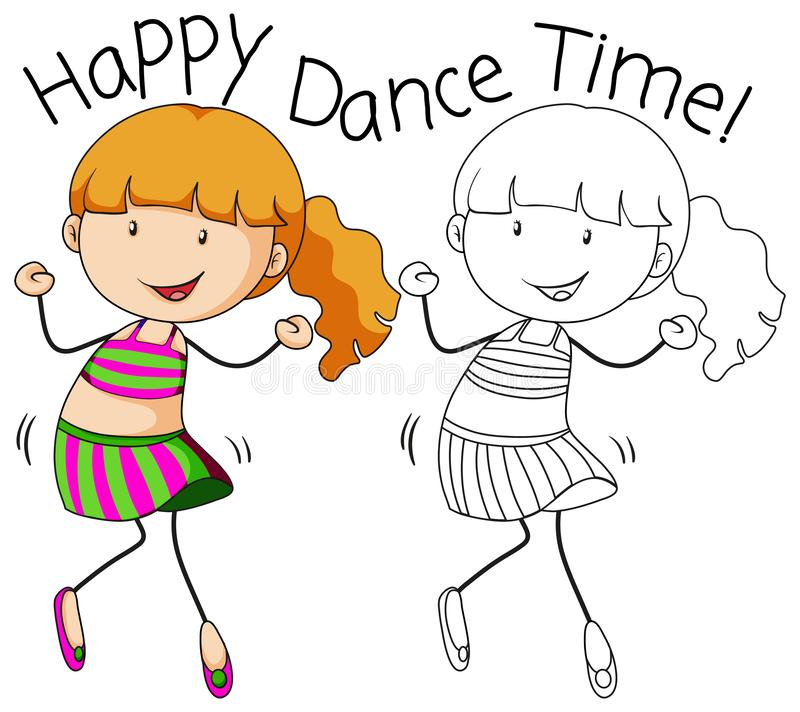 Doodle girl character dance. Illustration royalty free illustration