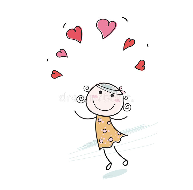 Doodle girl with love hearts. Small girl with red hearts isolated on white background. Vector Illustration in vintage doodle style royalty free illustration
