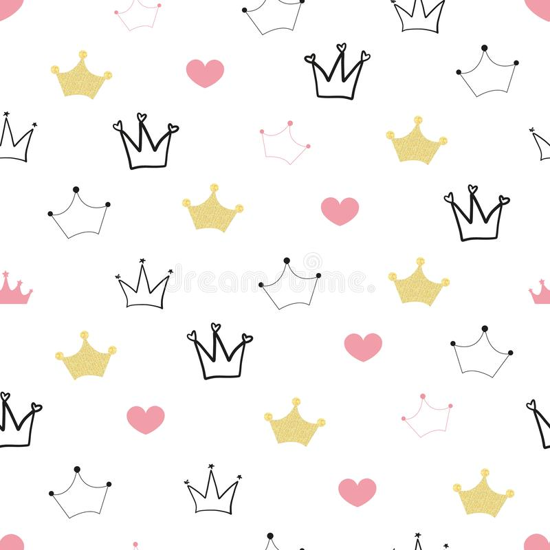 Doodle gold crown and hearts. Seamless little princess illustration pattern for fabric design stock illustration