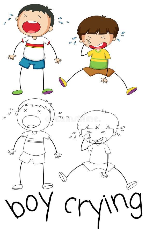 Doodle grafika chłopiec płacz royalty ilustracja
