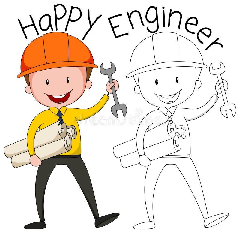 Doodle grafika inżynier ilustracja wektor