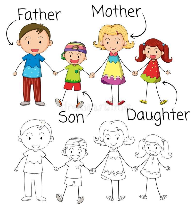 Doodle grafika rodzina royalty ilustracja