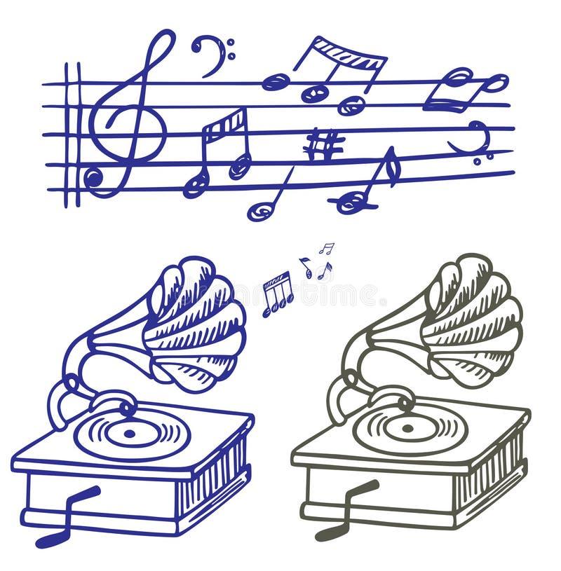 doodle gramoph muzyki notatki set ilustracja wektor