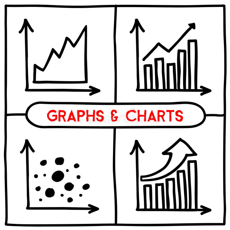 Drawing Line Graphs By Hand : Doodle graph icons set stock vector image of document