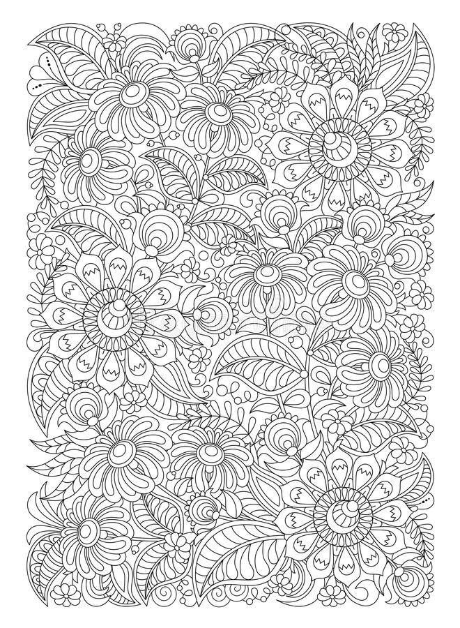 Doodle graphic leaves and flowers, coloring page for adults, art therapy, antistress, zentangle abstract patterns. Coloring page for adults, doodle graphic stock illustration