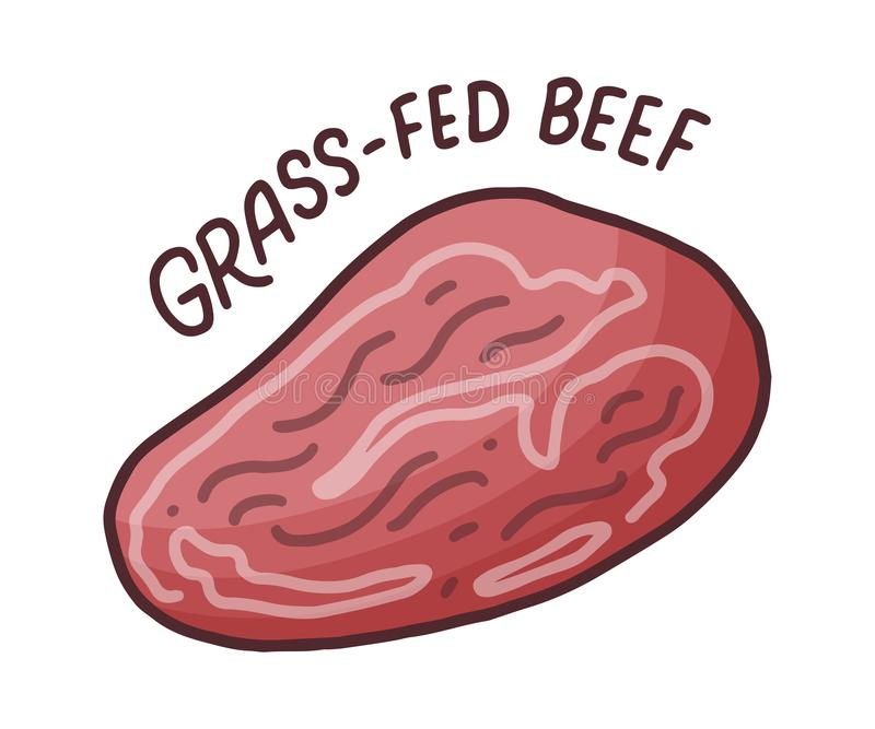 Doodle grass-fed beef, great design for any purposes. Organic nutrition healthy food. Beef steak, Ribeye. Food icon royalty free illustration