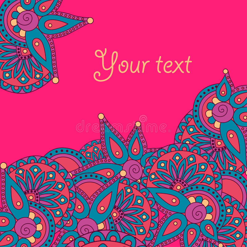Doodle greeting card template. stock images