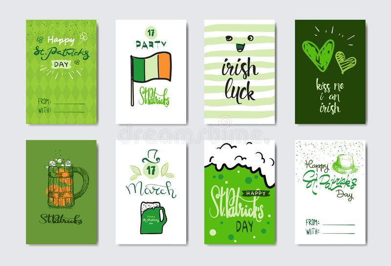 Doodle greeting cards for happy st patrick day irish holiday doodle greeting cards for happy st patrick day irish holiday decoration banner concept vector illustration m4hsunfo