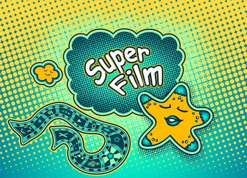 Doodle gwiazdowy wskazywać na mowa bąblu z wpisowym Super filmem royalty ilustracja