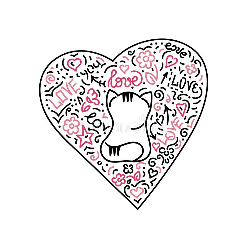 Doodle hand drawing. Cute cat and heart . Words and phrases about love. Vector illustration vector illustration
